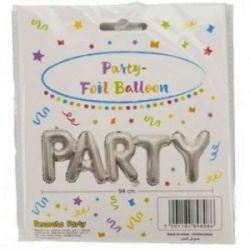 Balón strieborný - nápis párty