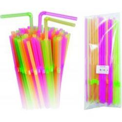 Slamky flexibilné farebné (100ks)