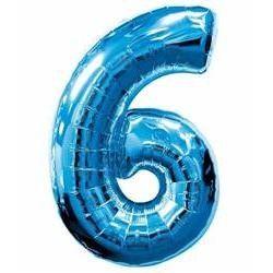 """Číslo """"6"""" - modrá"""