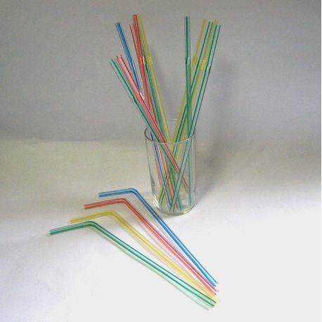 Slamky flexibilné pruhované 23 cm (40ks)