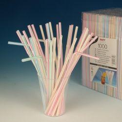 Slamky flexibilné pruhované 21 cm (1000 ks)