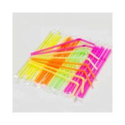 Slamky flexibilné neon 24 cm (250 ks)
