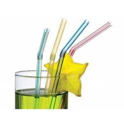 Slamky flexibilné číré 24 cm (1000 ks)