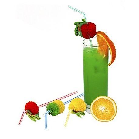 Slamky flexibilné s ovocím 24 cm (50ks)