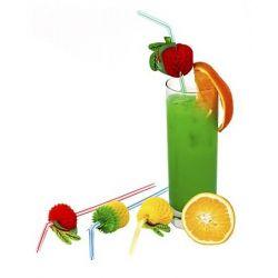 Slamky flexibilné s ovocím 24 cm (6ks)