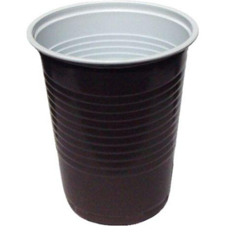 Kávový pohár hnedo-biely 0,18 l -PP- (priemer 70 mm) (100 ks)