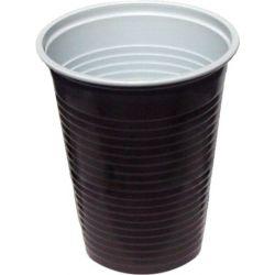 Kávový pohár hnedo-biely 0,2 l -PP- (priemer 70 mm) (100 ks)