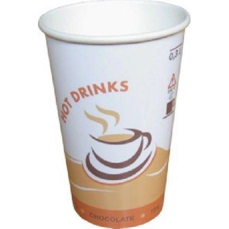 Papierový pohár s potlačou Hot Drinks 300ml (50 ks)