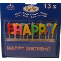 Párty sviečka HAPPY BIRTHDAY na špajdli 65 mm (13 ks)