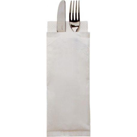 Obal na príbor 38 cm na príbor, biely + obrúsok biely (1000 ks)