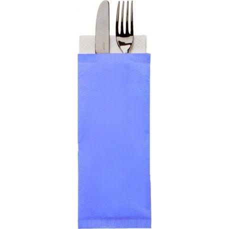 Obal na príbor 38 cm na príbor, modrý + obrúsok biely (1000 ks)