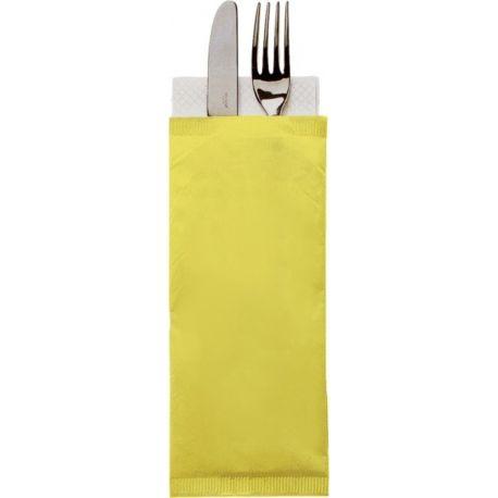 Obal na príbor 38 cm na príbor, žltý + obrúsok biely (1000 ks)