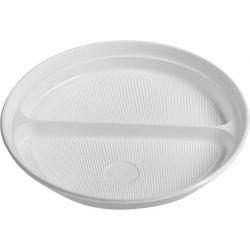 Tanier delený na 2 porcie, biely (PP) 22 cm (100 ks)