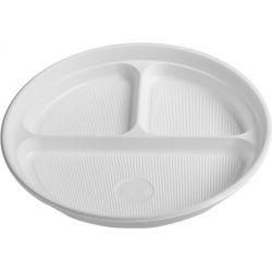 Tanier delený na 3 porcie, biely (PP) 22 cm (100 ks)
