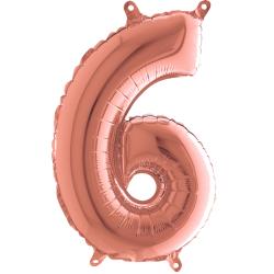 """Číslo """"6"""" - ružovo - zlatá lesklá"""