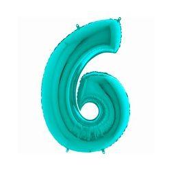 """Číslo """"6"""" tyrkysová lesklá"""