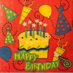 Obrúsky Happy Birthday 2-vrstvé (20ks)