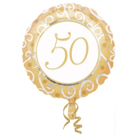 Zlatý balón s číslom 50, 45 cm