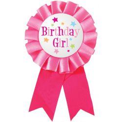 Birthday Girl narodeninový odznak s mašľovou obrubou