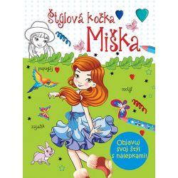 Štýlová kočka Miška omaľovanka s nálepkami