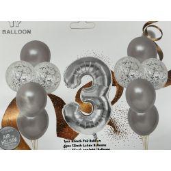 Fóliový čislo 3  strieborné + 10gumových balonov