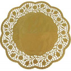Dekoračná krajka zlatá Ø 32cm, 4ks