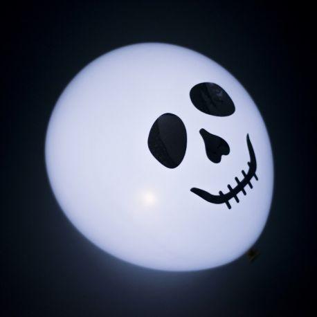 Halloween led balóny smrťka biele