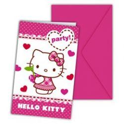 Hello Kitty  - Party pozvánky a obálky so srdiečkami