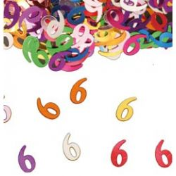 Narodeninové farebné party konfety s číslom 6 - 14 g