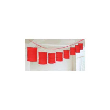 Závesná dekorácia lampiónová girlanda červená - 3,6 m