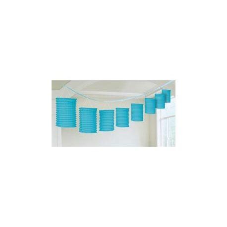 Závesná dekorácia lampiónová girlanda modrá - 3,6 m