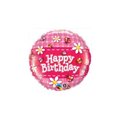 Lienky a margarétky narodeninový fóliový balón