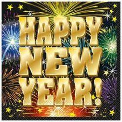 Servítky z nápisom Šťastný nový rok