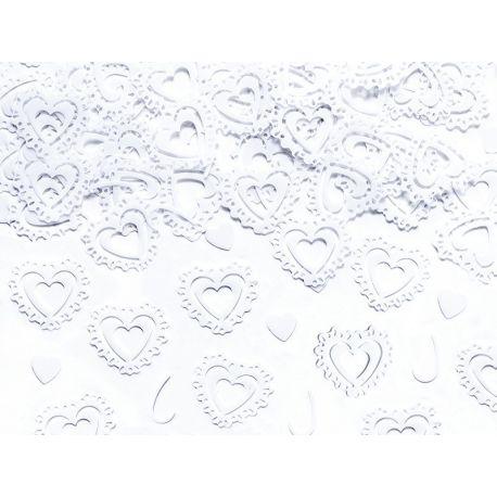 Konfety srdiečka biele