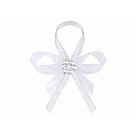 Svadobné pierko biele s perleťovým kvietkom