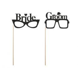 Okuliare na paličke - ženích a neveste