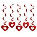 Závesná špirála srdce červená