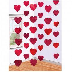 Závesná dekorácia srdce červená