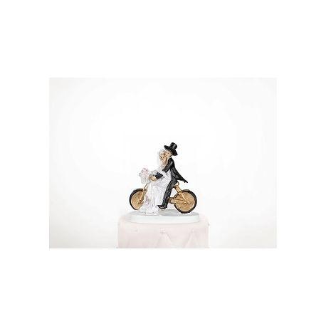 Figúrka na tortu nevesta a ženích na bicykli
