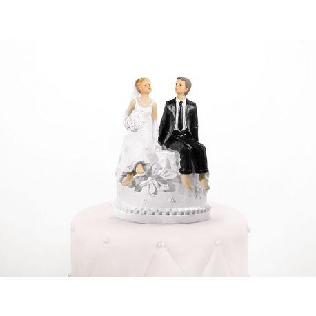Figúrka na tortu nevesta a ženích s pokladničkou