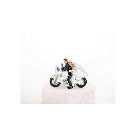 Figúrka na tortu nevesta a ženích na motorke