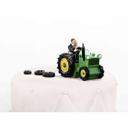 Figúrka na tortu nevesta a ženích na traktore