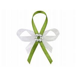 Svadobné pierko zelené s perleťovým kvietkom