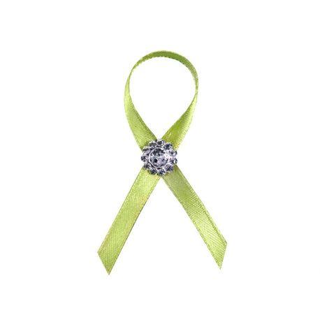 Svadobné pierko zelené s kamienkom