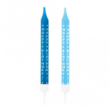 """Sviečky modré s nápisom """"Happy birthday"""""""