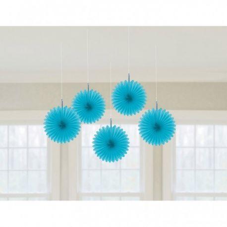 Modré vejáre závesná dekorácia