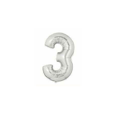 """Číslo """"3"""" - strieborná"""