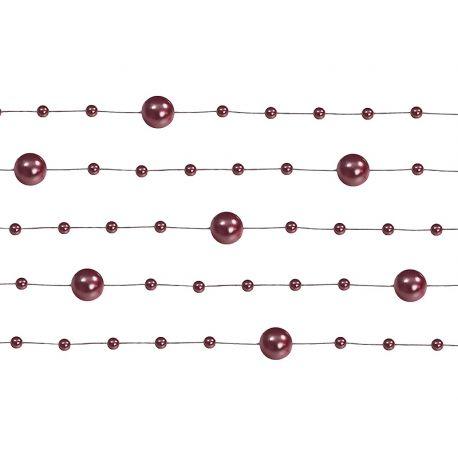 Perlová girlanda tmavočervena