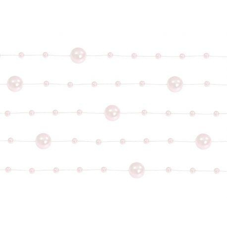 Perlová girlanda bledo ružová