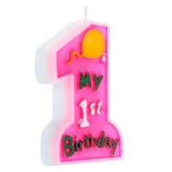 Tortová sviečka - My 1st Birthday, ružová